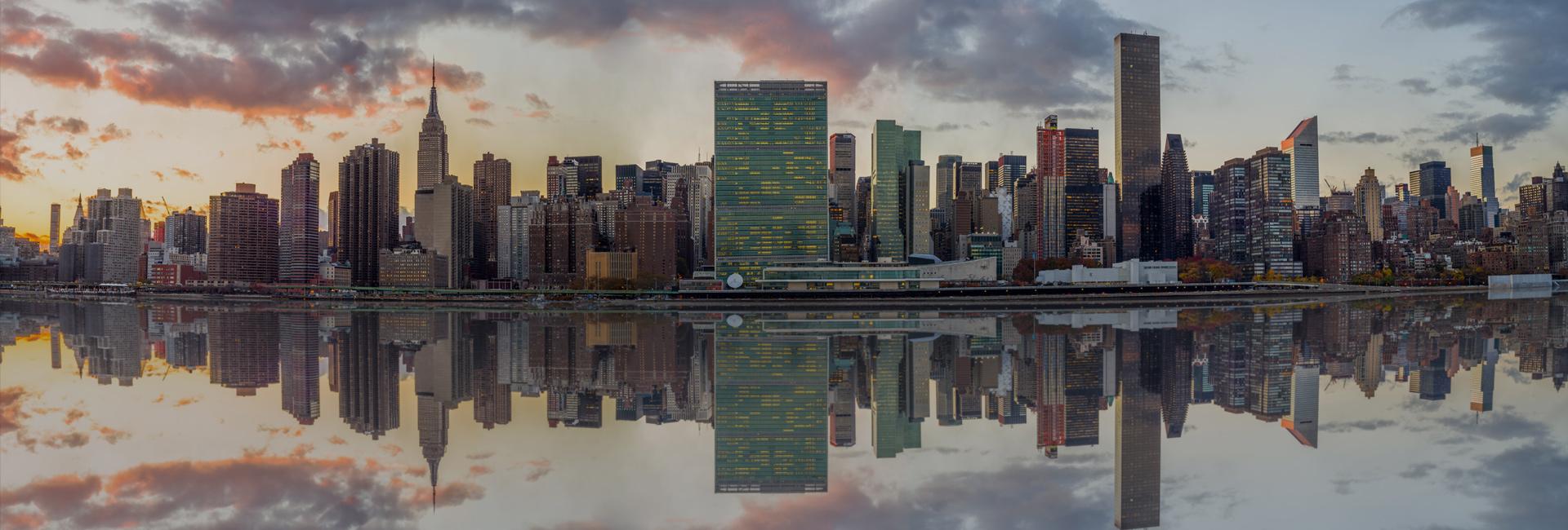 Reflection of City Skyline New York